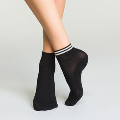 Lot de deux paires de socquettes noires pour femme en coton et lurex , , DIM