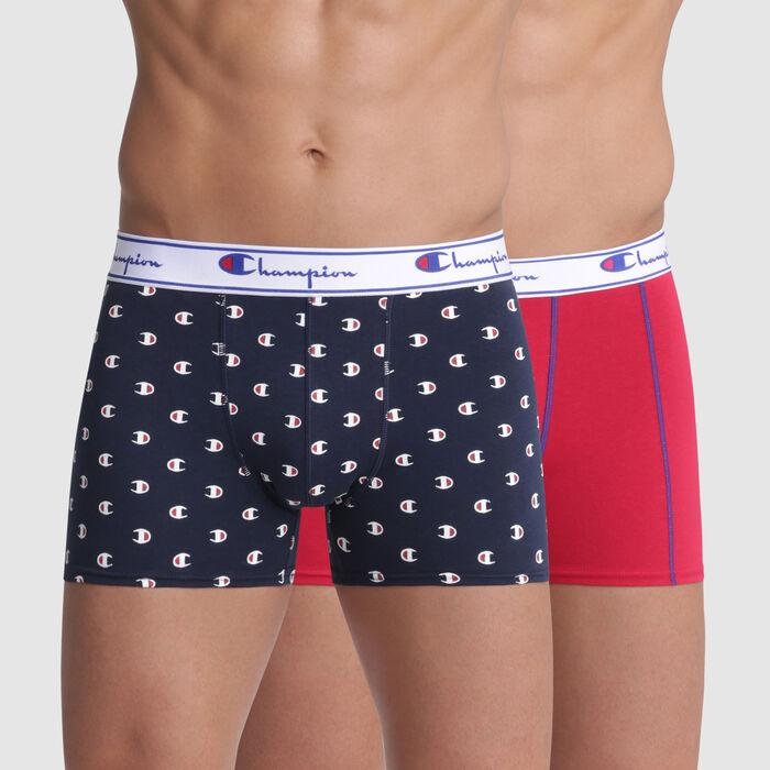 Lot de 2 boxers bleu imprimé logo et rouge coutures contrastées Champion, , DIM