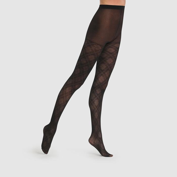 Collant noir argyle transparent Dim Style 43D, , DIM