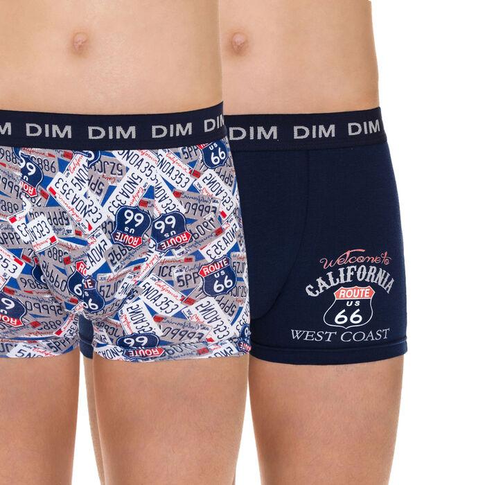 Lot de 2 boxers bleu outremer à imprimés route 66 DIM Boy-DIM