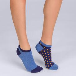 Lot de 2 socquettes courtes Coton Style à pois bleu Femme-DIM