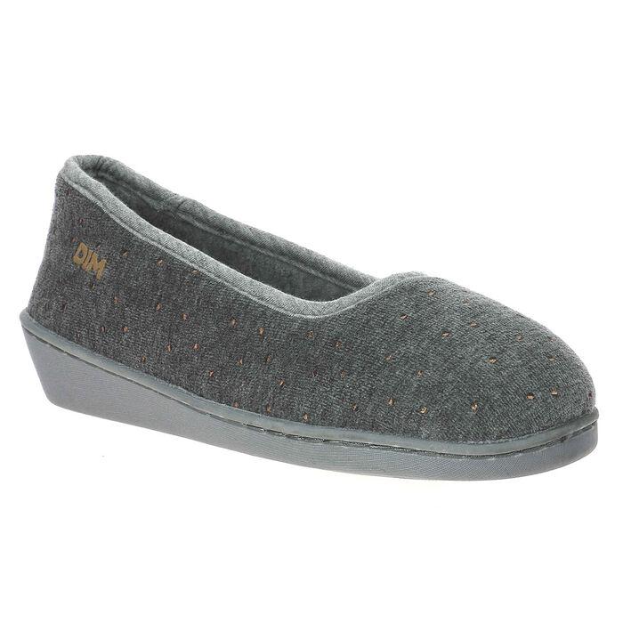 Chaussons gris en velours à talon compensé Femme, , DIM