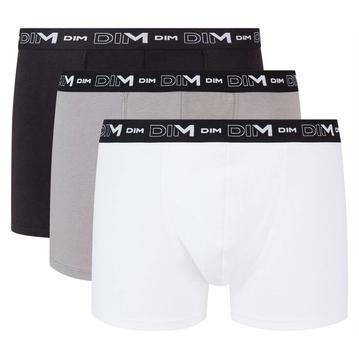 Lot de 3 boxers noir, gris et blanc Homme en coton stretch, , DIM