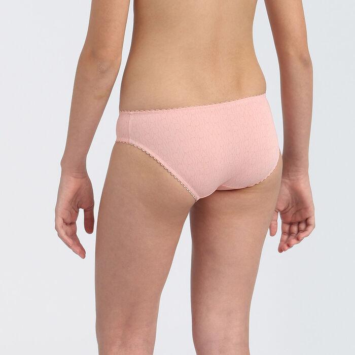 Culotte fille en microfibre à ceinture festonnée Rose Blush Dim Touch, , DIM