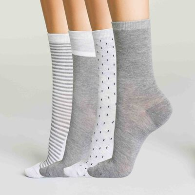 Lot de 4 paires mi-chaussettes Gris Moyen et Clair pour femme Ecodim, , DIM