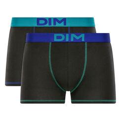 Lot de 2 boxers noirs ceintures et coutures bleues - Mix and Colors, , DIM