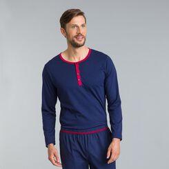 Tee-shirt de pyjama bleu matelot Signature manches longues-DIM