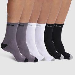 Lot de 6 chaussettes noir, blanc et gris - Champion Performance, , DIM