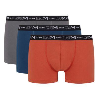 Lot de 3 boxers homme en coton stretch Roux Bleu Gris Volcan Dim, , DIM