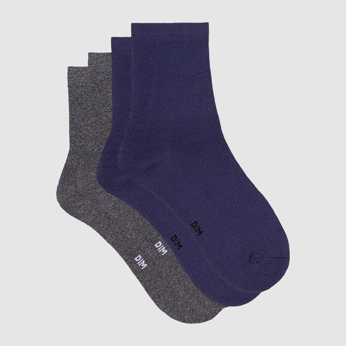 Lot de 2 paires de chaussettes femme microfibre bleu éclipse Dim Skin, , DIM