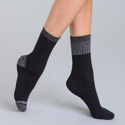 Lot de 2 chaussettes rayures lurex noires et argentées Femme-DIM