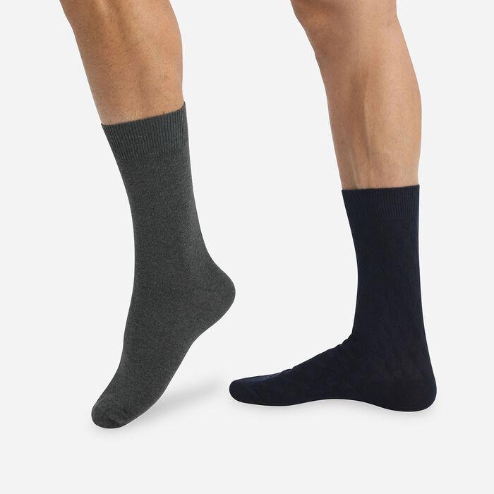 Lot de 2 paires de chaussettes motif 3D bleu marine gris Coton Style, , DIM