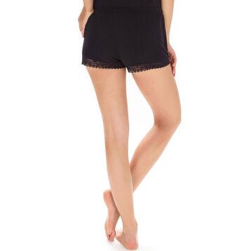 Short de pyjama noir avec dentelle Femme-DIM