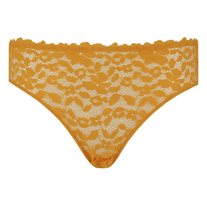 Culotte jaune or en dentelle et microfibre Blooming Lace Dim, , DIM