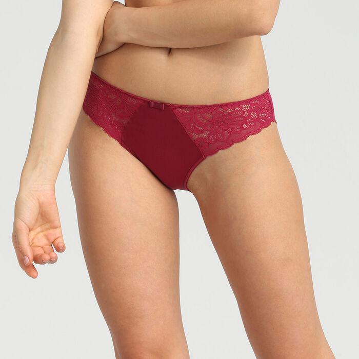 Culotte en dentelle et microfibre rouge vernis Sublim Dentelle de Dim, , DIM