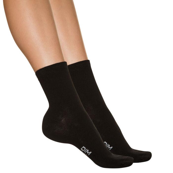 Lot de 4 paires de socquettes noires en coton Femme-DIM