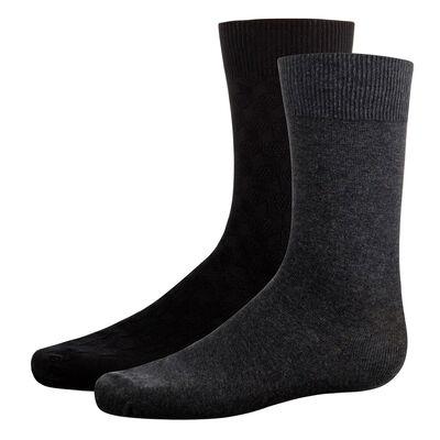 Lot de 2 paires mi-chaussettes Noires et Grises pour homme Coton Style, , DIM