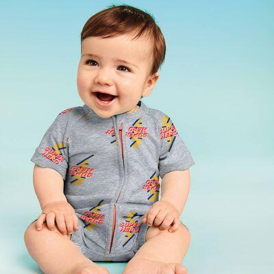 Barboteuse bébé zippée Imprimé Super Héro DIM Baby, , DIM