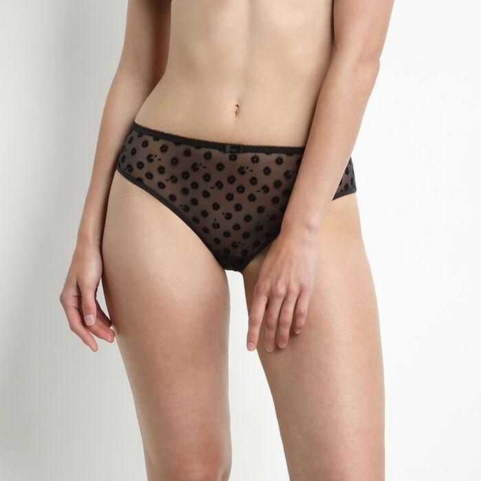 Culotte en microfibre noire motif fleuri Generous Limited Edition Daisy, , DIM