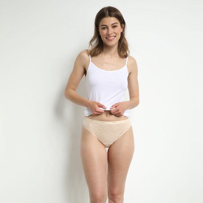 Lot de 3 strings femme coton stretch à messages féminins Les Pockets, , DIM