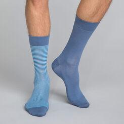 Lot de 2 paires de chaussettes bleu encre rayures Homme, , DIM