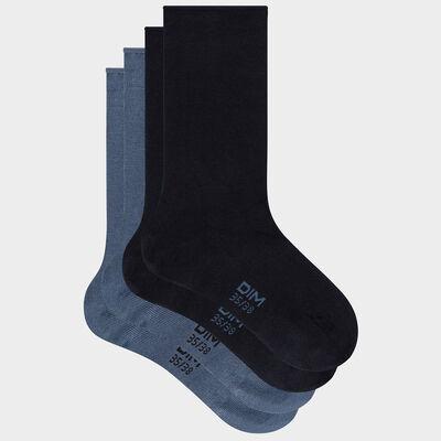 Lot de 2 paires de chaussettes femme coton modal Bleu Marine Dim, , DIM