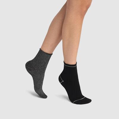 Lot de 2 paires de socquettes coton et lurex argenté Noir Coton Style, , DIM