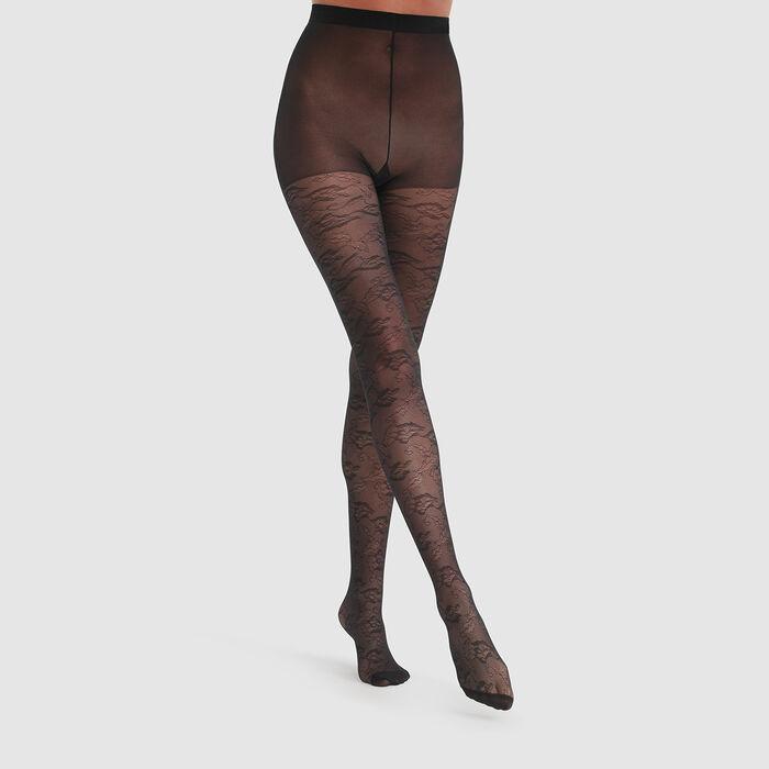 Collant noir imprimé dentelle anémone Dim Style 35D, , DIM
