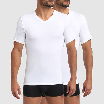 Lot de 2 t-shirts homme en coton bio à col V blanc Green by Dim, , DIM