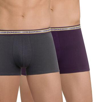 Lot de 2 boxers gris plomb et violet profond 3D Flex, , DIM