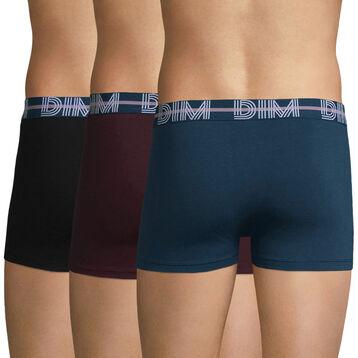 Lot de 3 boxers bleu, noir et aubergine - Dim Powerful, , DIM