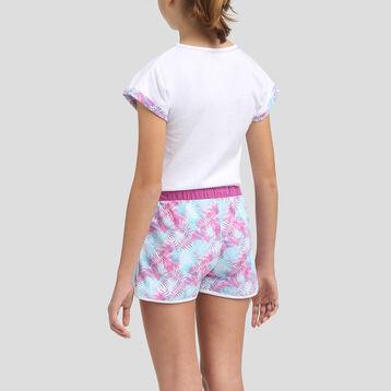 Pyjama court 2 pièces 100% coton pour fille Violine, , DIM