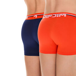 Lot de 2 boxers bleu matelot et orange Soft Touch DIM Boy-DIM