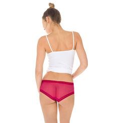 Shorty rouge en coton et dentelle Seductive Transparency-DIM