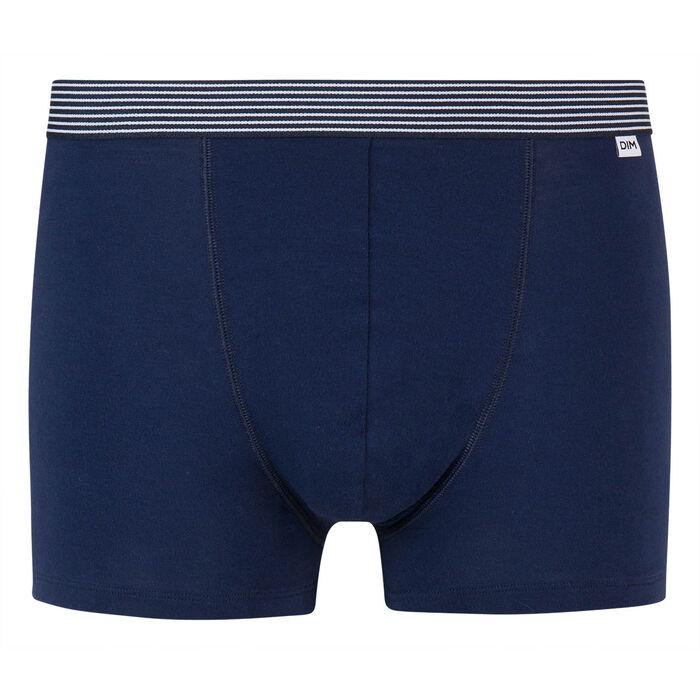 Boxer bleu denim coton stretch à ceinture imprimée ligne Mix and Print, , DIM