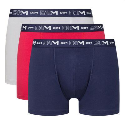 Lot de 3 boxers homme bleu denim rouge topaze acier Coton Stretch, , DIM