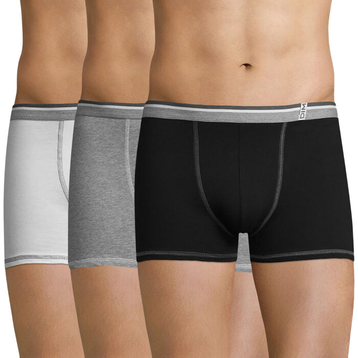 Lot de 4 boxers (3+1 gratuit)blancs, gris et noirs Long Life-DIM
