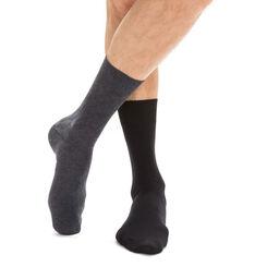 Lot de 2 paires de chaussettes noires et anthracites Homme, , DIM