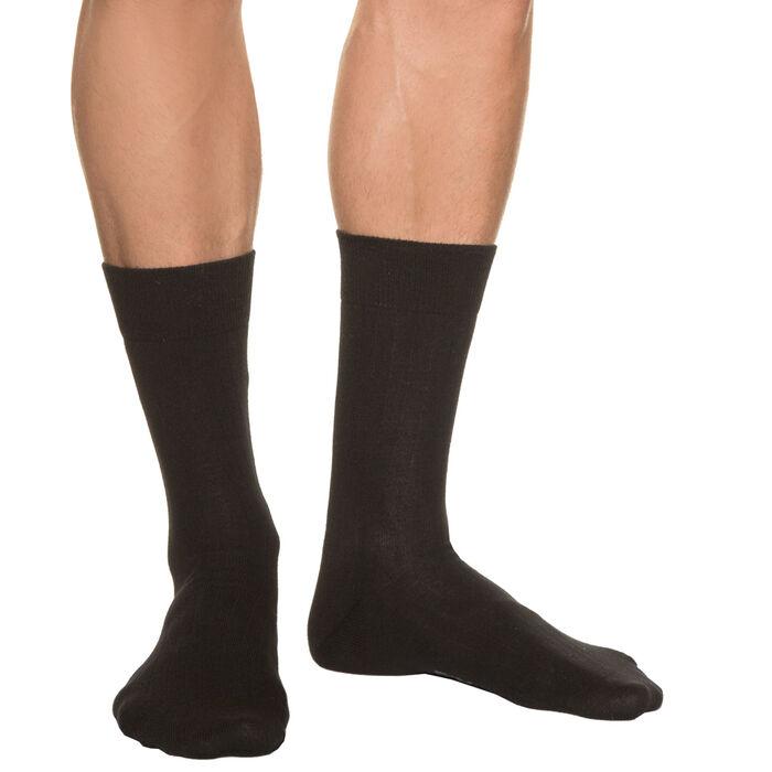 Chaussettes à côtes noires Homme Pur Coton, , DIM