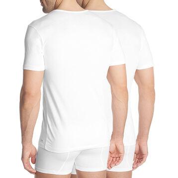Lot de 2 T-shirts blancs à col rond en coton résistant-DIM
