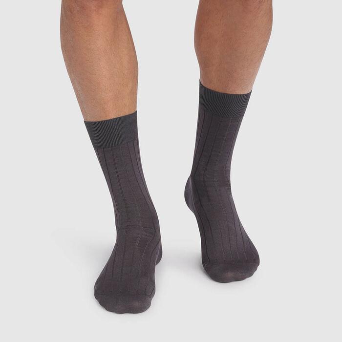 Lot de 2 paires de chaussettes hommes gris anthracite en fil d'Écosse, , DIM