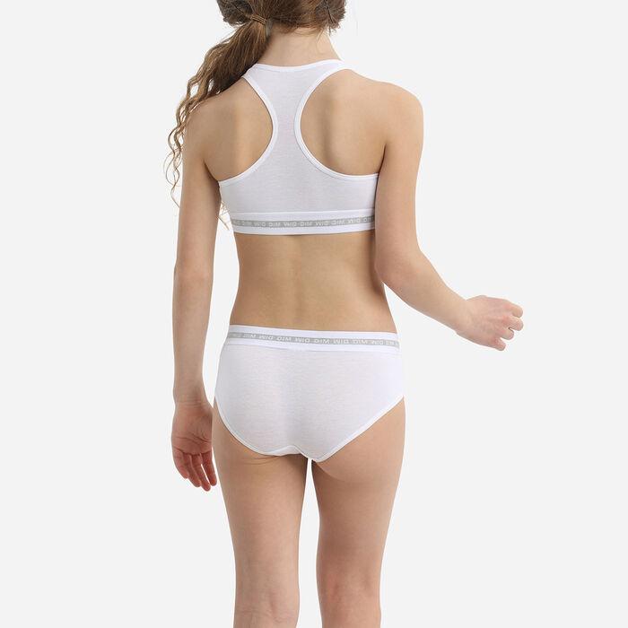 Shorty fille coton stretch Blanc avec impressions argentées Dim Sport, , DIM