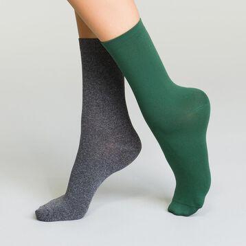 Lot de 2 paires de mi-chaussettes noires en microfibre pour femme, , DIM