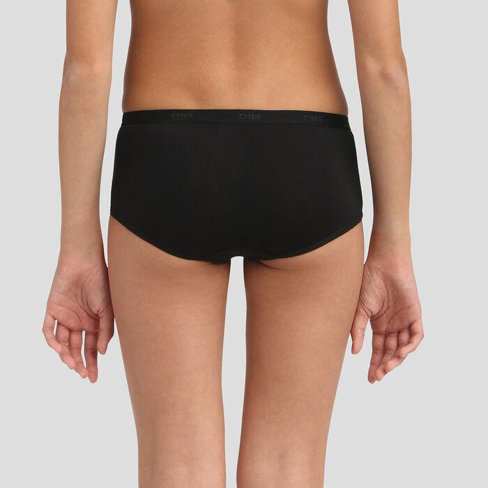 Lot de 3 shortys noirs en coton pour fille Texte Les Pockets, , DIM