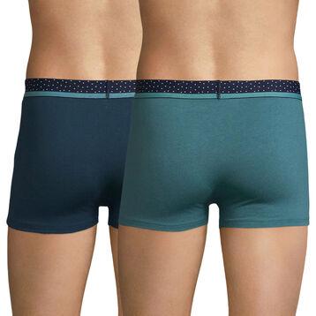 Lot de 2 boxers vert et bleu ceinture à pois - Mix and Dots, , DIM