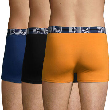 Lot de 3 boxers Coton Jaune Desert, Bleu Eclipse et Noir Dim Powerful, , DIM