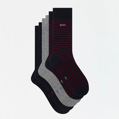 Lot de 3 paires de chaussettes hommes imprimé pois rayures Coton Style, , DIM