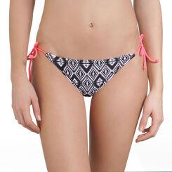 Bas de maillot de bain à nouer imprimé aztèque noir Femme-DIM