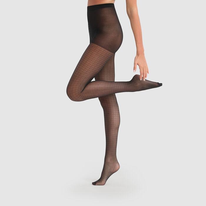 Collant noir imprimé carreaux Dim Style 27D, , DIM