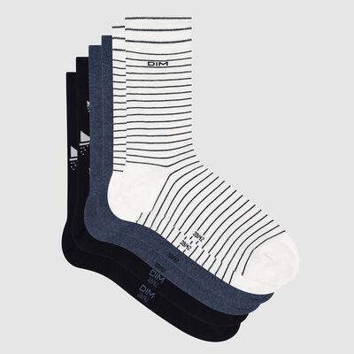 Lot de 3 paires de chaussettes homme motif bateau Marine Coton Style, , DIM